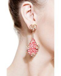 Bochic - Red Patterned Enamel and Diamond Butterfly Earrings - Lyst