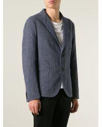 Emporio Armani - Blue Jacquard Blazer for Men - Lyst