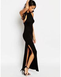 ASOS | Black Halter Strappy Back Maxi Dress | Lyst