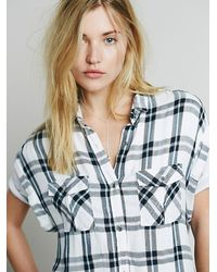 Free People - White Cap Sleeve Plaid Buttondown - Lyst
