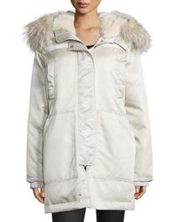 Theory | Natural Fabunni Bomber Tech Coat W/fur Trim | Lyst