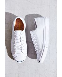 Converse | White Jack Purcell Tumbled Leather Low-Top Sneaker | Lyst
