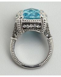 Judith Ripka | Blue Topaz and White Sapphire Cocktail Ring | Lyst