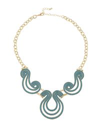 Fragments - Blue Beaded Scroll Bib Necklace - Lyst