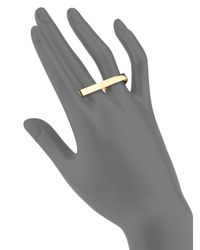 Ginette NY | Metallic 18k Rose Gold Baguette Double Ring | Lyst