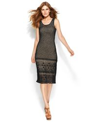 Michael Kors | Black Michael Sleeveless Crochet Sweater Dress | Lyst