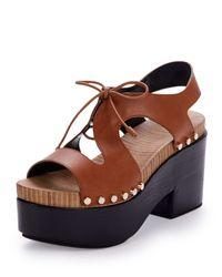 Balenciaga - Brown Leather Lace-Front Platform Sandals - Lyst