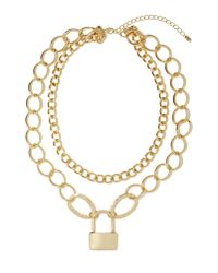 Nasty Gal - Metallic Lock Up Necklace - Lyst