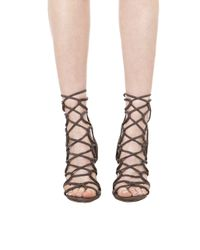 AKIRA | Gray Lace Up Heeled Sandals - Grey Suede | Lyst