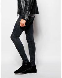 ASOS - Black Extreme Super Skinny Jeans With Biker Styling for Men - Lyst