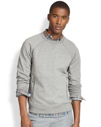 Vince - Gray Nylon-Detail Cotton Sweatshirt for Men - Lyst