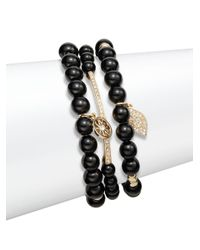 Saks Fifth Avenue | Black Pavé Evil Eye Charm Beaded Bracelets/set Of 3 | Lyst