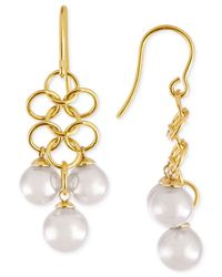 Majorica | Metallic Gold-tone Organic Man-made Pearl Chandelier Earrings | Lyst