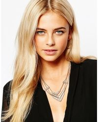 Oasis - Metallic Three Row V Collar Necklace - Lyst