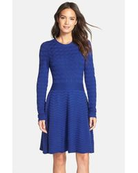 Eliza J - Blue Chevron-Knit Sweater Dress - Lyst