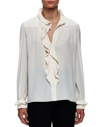 Lanvin - White Victorian Ruffle Silk Crepe Blouse - Lyst