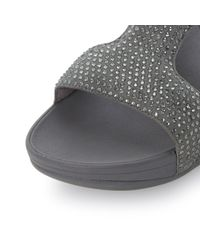 Fitflop | Metallic Rokitt Slide Diamante Sandal | Lyst