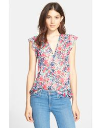 9371f7850cd6f Lyst - Joie  macy D  Floral Print Silk Top in Natural