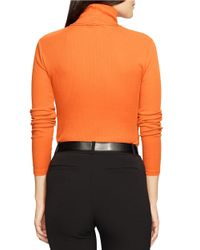 Lauren by Ralph Lauren - Orange Petite Elbow-patch Cotton Turtleneck - Lyst