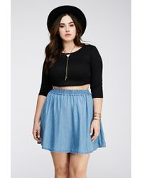 Forever 21 | Blue Chambray Skater Skirt | Lyst