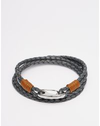 Ted Baker - Gray Plaited Wrap Leather Bracelet for Men - Lyst