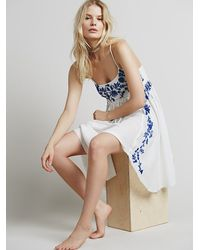 Free People - White Intimately Womens Embroidered Babydoll Slip - Lyst