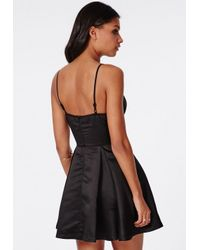 Missguided - Satin Plunge Skater Dress Black - Lyst