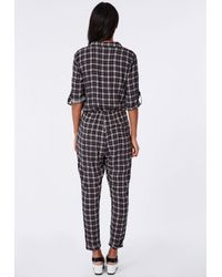 Missguided - Blue Checked Shirt Jumpsuit Navy - Lyst