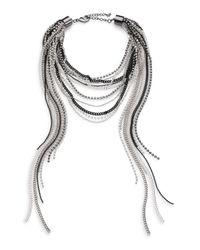 ABS By Allen Schwartz | Metallic Dark & Stormy Beaded Multi-row Chain Necklace | Lyst