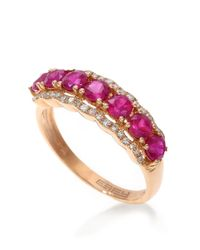 Effy | Purple 14k Rose Gold Natural Ruby And Diamond Ring | Lyst