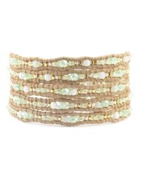 Chan Luu | Blue Pistachio Mix Wrap Bracelet On Beige Leather | Lyst