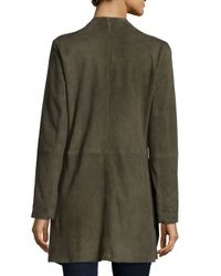 Eileen Fisher - Green Fisher Project Draped Suede Jacket - Lyst