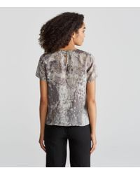 Eileen Fisher - Multicolor Tidewater Print Silk A-line Tee - Lyst
