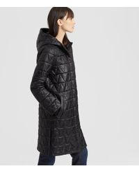 Eileen Fisher - Black Chevron Recycled Nylon Hooded Coat - Lyst