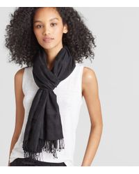 Eileen Fisher - Black Handwoven Organic Cotton Silk Check Scarf - Lyst