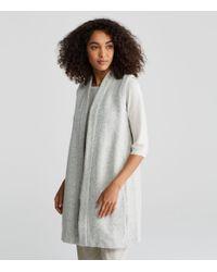 Eileen Fisher - Gray Chunky Wool Tweed Kimono Vest - Lyst