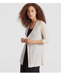 Eileen Fisher - Multicolor Sheer Silk Jersey V-neck Cardigan - Lyst