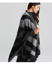 Eileen Fisher - Black Chevron Wool Blend Serape - Lyst