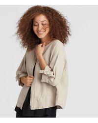 Eileen Fisher - Natural Heavy Organic Linen Boxy Jacket - Lyst
