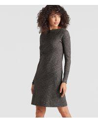 Eileen Fisher - Gray Organic Cotton Wool Bateau Neck Dress - Lyst