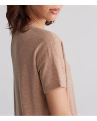 Eileen Fisher | Brown Seamless Italian Cashmere Bateau Neck Short-sleeve Tunic With Side Slits | Lyst