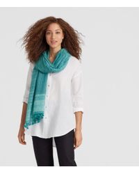 Eileen Fisher - Blue Handwoven Shibori Organic Cotton Silk Scarf - Lyst