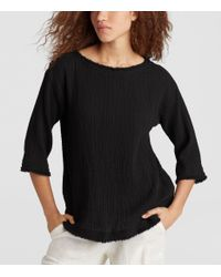 Eileen Fisher - Black Organic Cotton Gauze Box-top - Lyst