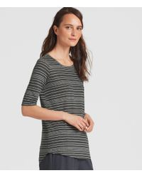 Eileen Fisher - Gray Organic Linen Jersey Stripe Elbow-sleeve Top - Lyst
