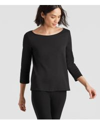Eileen Fisher - Black Organic Cotton Interlock Ballet Neck 3/4-sleeve Tee - Lyst
