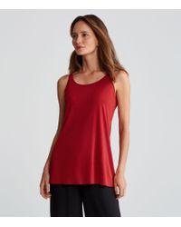 Eileen Fisher - Red Silk Jersey Long A-line Tank - Lyst