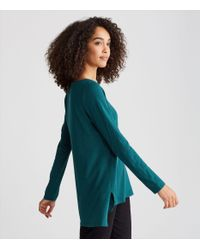 Eileen Fisher - Blue Organic Cotton Jersey Slub A-line Top - Lyst