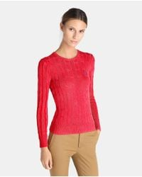 Polo Ralph Lauren | Red Cable-knit Round Neck Sweater | Lyst