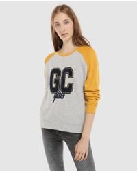 GREEN COAST - Multicolor Two-tone Sweatshirt With Front Print - Lyst