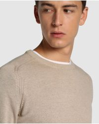 GREEN COAST - Natural Basic Beige Sweater With A Round Collar for Men - Lyst